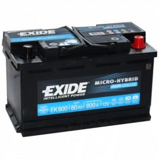 Akumuliatorius EXIDE 80Ah 800A AGM